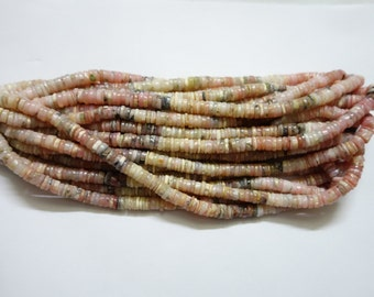 Pink opal Smooth wheels , Heishi Beads