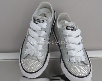 Junior Silver Glitter Custom Crystal *Bling* Converse With Bows on Backs. Sizes 11-2