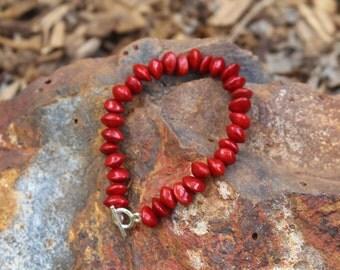 Handmade Red Sandalwood Seed Bracelet.