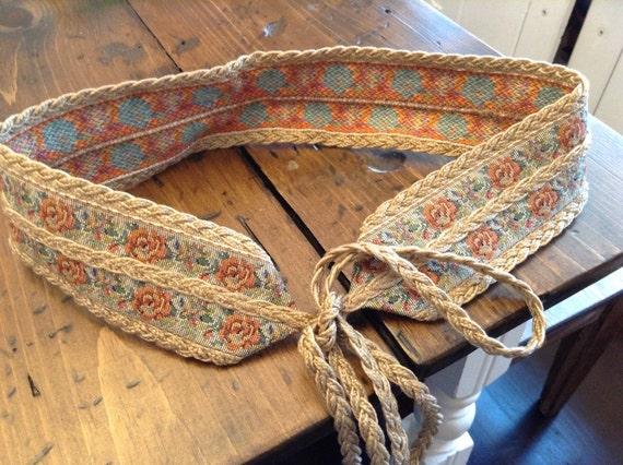 Rose Tapestry Tie Belt Burlap Twine Braid 80s (A403)