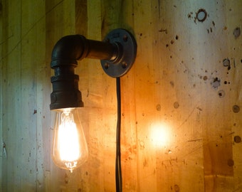 Simple Black Pipe Lamp, 90 Degree with Edison Bulb