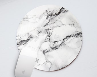 Marble Mouse Pad Mousepad Mouse Mat Mousemat Desk Accessory Designed Cool Marble Print Gray Marble Mouse Pad White Gray Mouse Marble MP_021