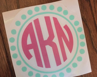 Polka Dot Border Monogram Sticker