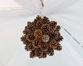 Pinecone Chandelier - Wedding Decor - Pinecone Ball - Home Decor