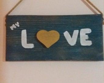 dark blue love sign,hanging sign