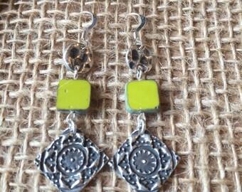 Green Aztec Dangle Earrings