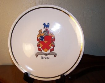 Family crest plate for BRUCE family fuimus : motto We Have Been Vintage crest plate BRUCE clan