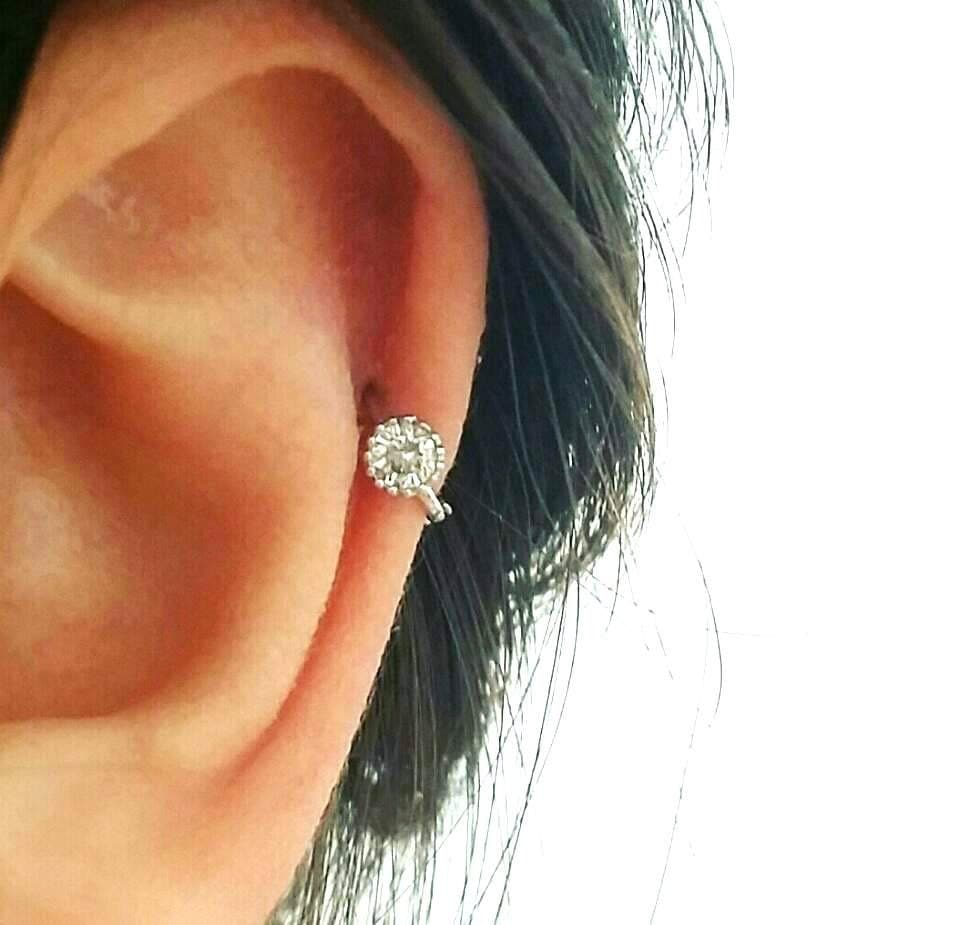 Cz Simple Cartilage Hoop, Silver Cartilage Hoop, Tragus Piercing Ring,  Tragus Earring,