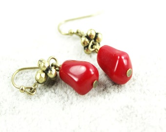 vintage inspired chili red dangle drop earrings