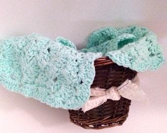 Mint green Handmade  washcloths