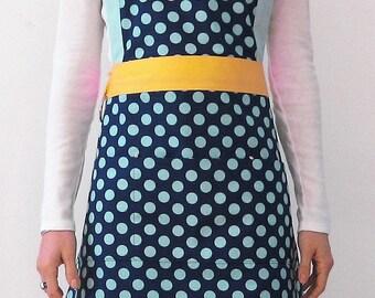 Polka dot Apron. Modern Apron. Blue/Turquoise/yellowApron. Cotton Apron. Women Apron