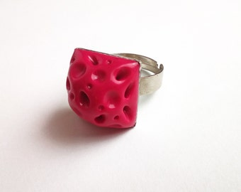 Pink Asteroid Ring. Fantasy Polymer Clay Square Ring