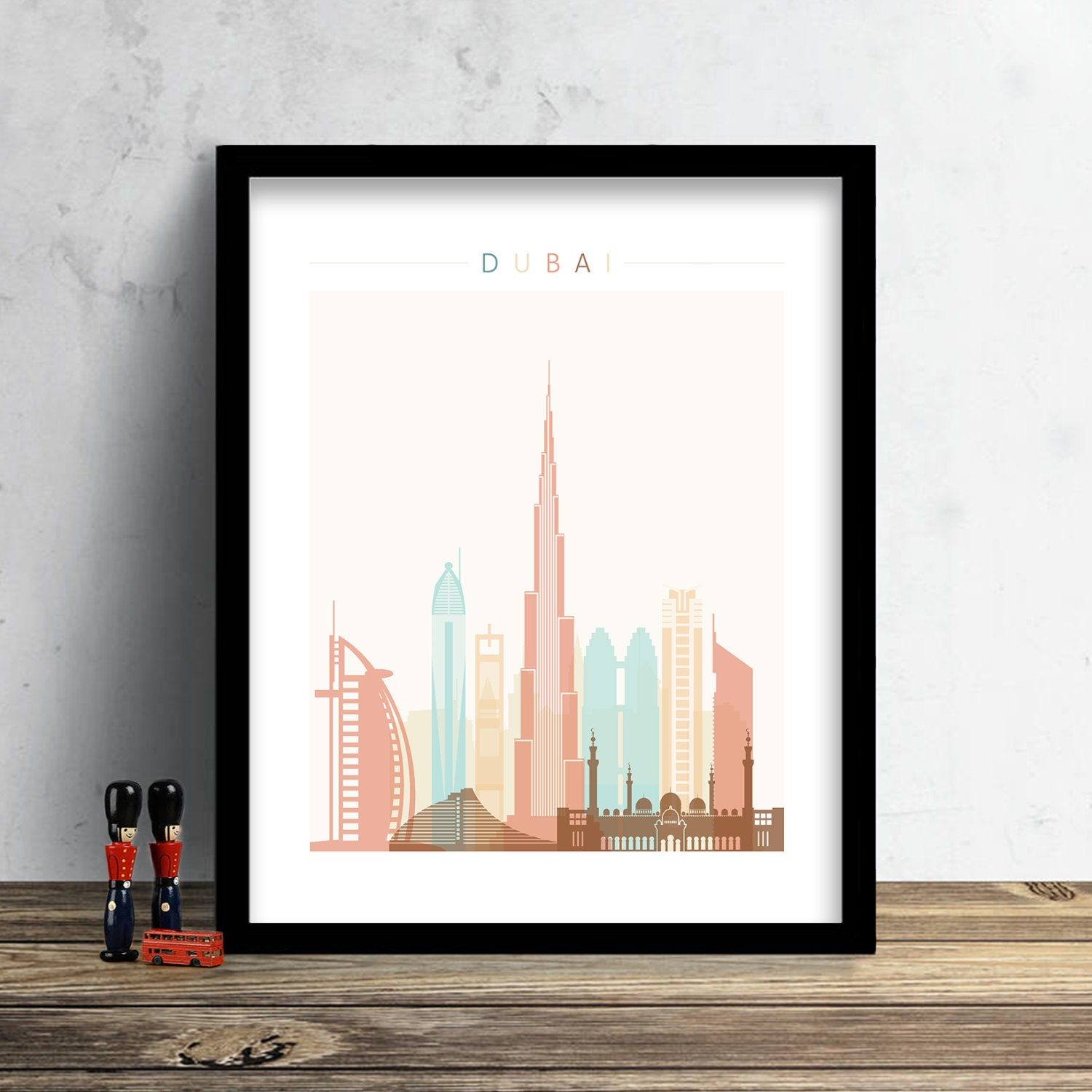 Dubai skyline print watercolor print dubai wall art uae for Home decor uae