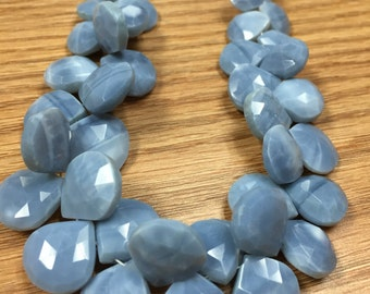 8 Inch Peruvian Blue Opal Faceted Heart Shape Briolettes, 12-14MM