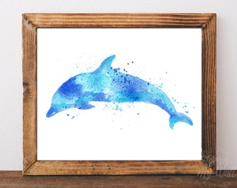 Dolphin print, watercolor dolphin, dolphin wall art, dolphin nursery art, dolphin wall decor, dolphin painting, sea art, sea animal, dolphin
