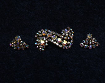 Large Vintage Signed Continental Aurora Borealis Brooch and Earring Set