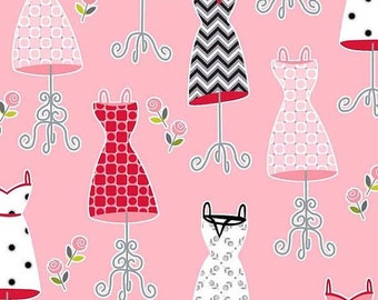 Fashion Plate Dressforms - pink - by Barbara Jones of Quiltsoup for Henry Glass - 1/2 Yard