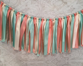 Fabric Garland/Ribbon Banner/Country Wedding Decor/Mint Wedding Decor/Prairie Wedding Decor/Coral Wedding Decor/Ribbon Strip Garland
