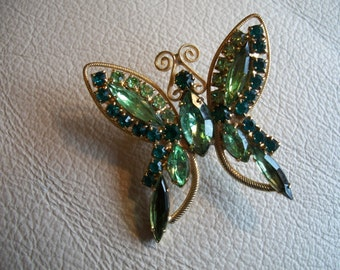 Vintage Goldtone Metal Butterfly Brooch With Green Pronged Stones