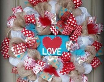 Valentine's Wreath, Valentine's Day Wreath, Door Wreath