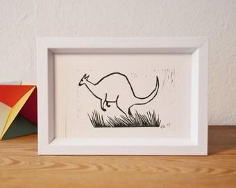 Kangaroo · original linocut · 12 x 9 cm
