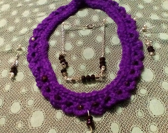 Purple crocheted necklace set