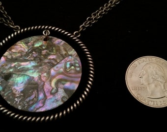Abalone and silver necklace