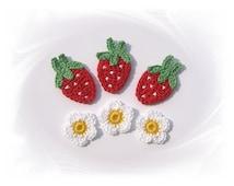 3 strawberries, crochet strawberry, strawberry crochet applique, patch, crochet flower