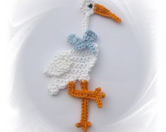 Stork crochet crocheted applique, Stork application, Stork crochet, patches, application, birth, baby