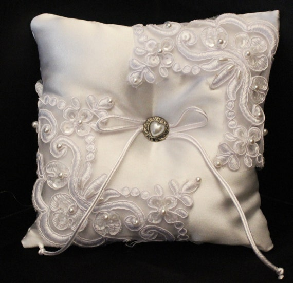 white satin ring bearer pillow
