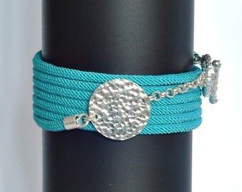Turquoise Green Circle Wrap Sterling Silver Bracelet
