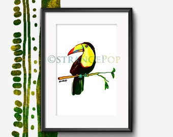 Tucan Art Print, Rainforest Print, Tropical Room Decor, Wild Animal Art, Cute Bird, Tucan Poster, Kids Art, Colorful Gift, Wall Art