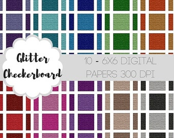 Glitter Checkerboard Digital Papers-Digital Scrapbook Papers-Seamless Digital Papers-Glitter Digital Papers-Printable Scrapbook Papers-DIY