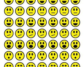 "Emoji Bottle Cap Art-Emoji Collage Art-Emoji 1"" Cabochon Art-1"" Images-Collage Images-Bottle Cap Art Images-Bezel Setting-Resin Art-DIY"