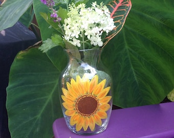 Sunflower hand painted glass vase.