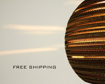 Free Shipping - Cardboard Earth Lamp | Sphere | Cardboard | Handmade | Hanging Lamp | Pendant Lamp | Sustainable | Eco Friendly