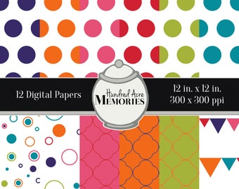 Digital Papers, Bright Circles , 12 inches x 12 inches, 300 ppi (dpi), Scrapbooking and Craft Papers, Downloadable and Printable
