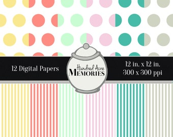 Digital Papers, Pastel Dots and Stripes, 12 inches x 12 inches, 300 ppi (dpi), Scrapbooking and Craft Papers, Downloadable and Printable