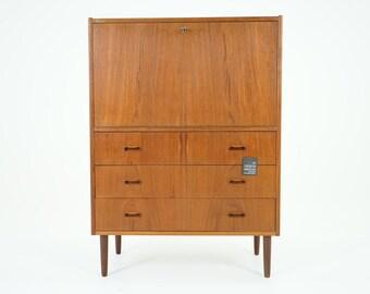 305-147 Danish Mid Century Modern Teak Drop Front Cabinet Dresser