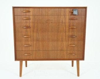 306-187 SALE! Danish Mid Century Modern Teak Highboy Dresser Chest of Drawers