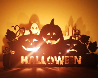 Halloween Pumpkin Decorations Wooden Candle Holder. Fireplace Decor, Halloween Candlestick, Halloween Decor, Happy Halloween Signs