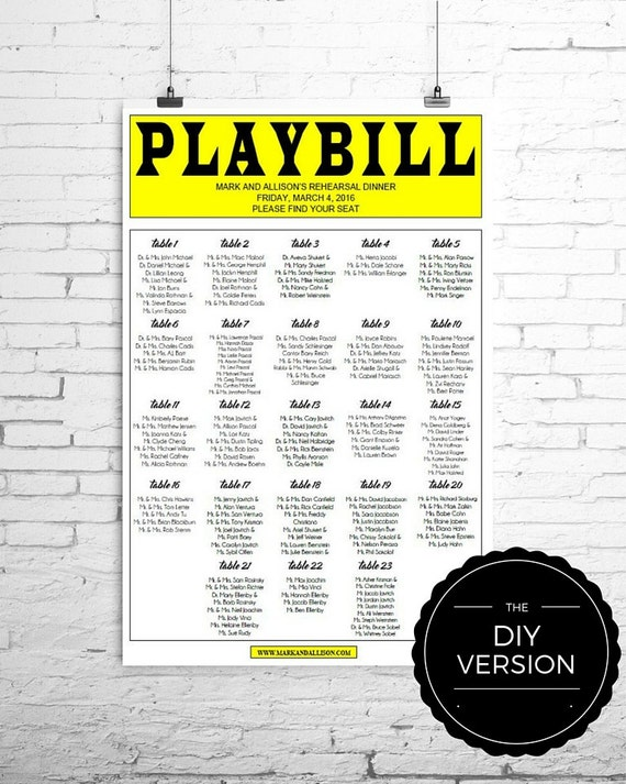 Playbill Broadway Seating Chart Template Diy Digital File