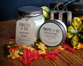 100% Pure Soy Autumn Night Candles in Mason Jars by Firefly & Co.