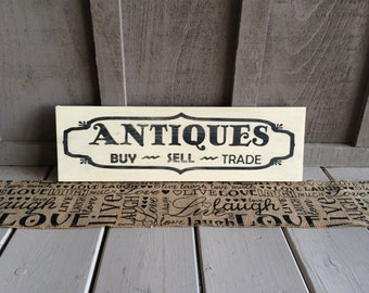 Antiques Wood Sign // antiques // buy // sell // trade // wood painted sign // rustic