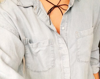 Suede Bow Choker