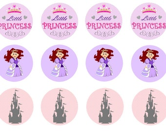 Princess Birthday Party, Princess Cupcake Toppers, Little Princess Cake Toppers, Edible Princess Prints, Wafer Toppers, Icing Toppers