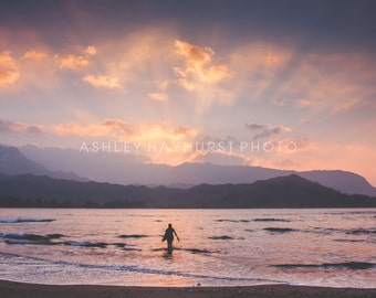 Hanalei Bay Surfer at Sunset | 8x10 Print Matted to 11x14