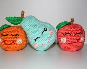 Set of Three Crochet Fruit-Crochet Pear, Apple and Orange / Nursery Decor / Baby Shower Gift / Baby Room Decor/ Amigurumi Fruit/ Kawaii Food