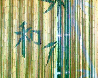 Chinese Characters with Bamboo Scene Curtain