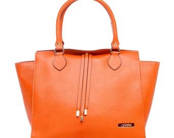 LAFatima Orange Leather Bag/Office/Oversize Tote Bag/Leather Bag/Large Leather Tote Bag/Made in Italy/Leather Work Bag/Handmade Leather Bag